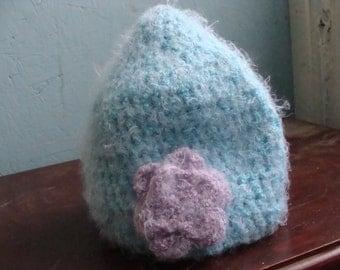 Super Soft Blue Crochet Beanie with Purple Flower