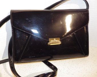 1970s Vintage Etienne Aigner Black Patent Shoulder Bag with Integrated Change Purse