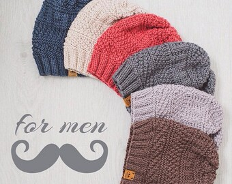 Men's Knit Hat / Knitted Beanie / Wool Merino Hat