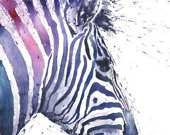 ZEBRA PRINT - watercolor zebra painting, zebra decor, nursery decor, watercolor animal art, zebra art, wildlife painting, zebra wall art