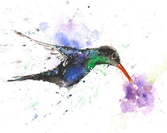 WATERCOLOR HUMMINGBIRD ART - original bird painting, bird wall art, original bird art, bird lover, hummingbird decor, hummingbird artwork