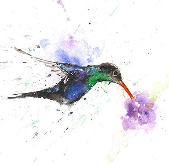 Abstract Watercolor Hummingbird Watercolor Hummingbird Art