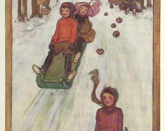Children Tobogganing Toboggan Sled Sledge Snow Run color print by Harrison 1940 Print Wall Art Home Decor Vintage Print Antique Print
