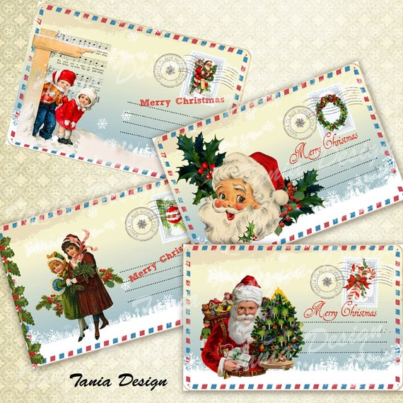 Digital Collage Sheet Christmas Post Card-Greeting Card 4x6