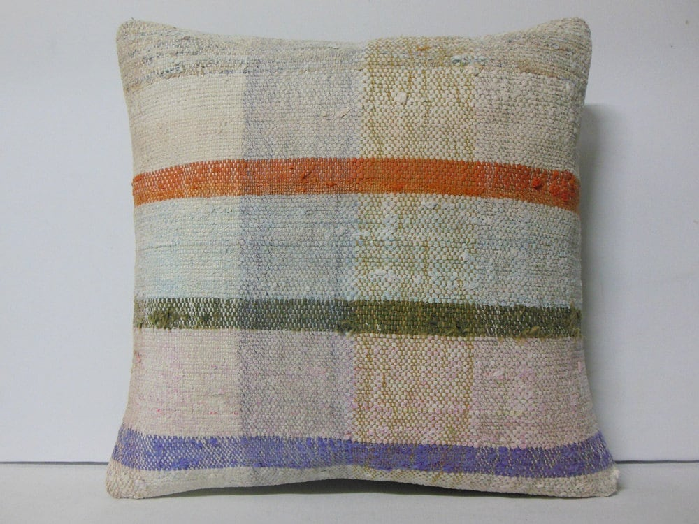 50 throw pillow 24 inch extra large cushion cream blue orange