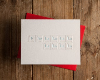ON SALE // Far La La La La La La La La Letterpress Christmas Card