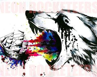 "8x10 ""War"" Wolf  Original Watercolor Ship Animal Art Print"