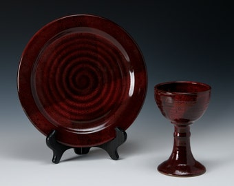 Custom-made Wheel-thrown pottery chalice and communion plate set