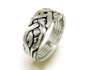 YURIY - Unique Puzzle Rings by PuzzleRingMaker - Sterling Silver or Gold - 5 Bands