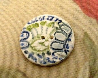 211: Ceramic button in Greens and Blues