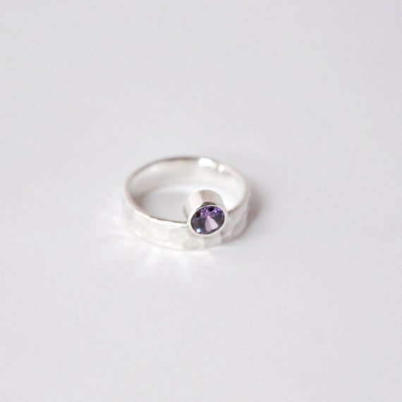 Handmade Sterling Silver Ring with Amethyst Stone