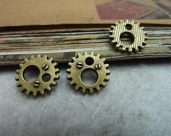 100pcs 12mm Antique Bronze / Antique Silver Clock Gear Charms Pendants AC7001