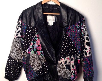 Vintage 80's Pattern Leather Patchwork Jacket