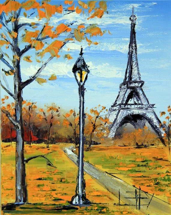 Paris Eiffel Tower Painting Original French by PaletteKnifeArt Eiffel Tower Painting Landscape