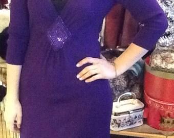 St John Evening Purple Knit Dress Low cut