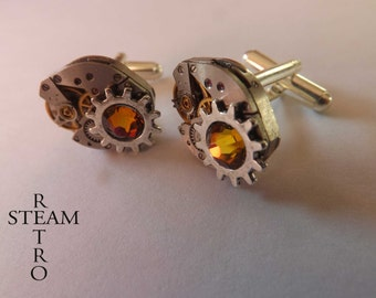 10% off sale16   Badass geared-up steampunk cufflinks - mens cufflinks - steampunk accessories - wedding cufflinks