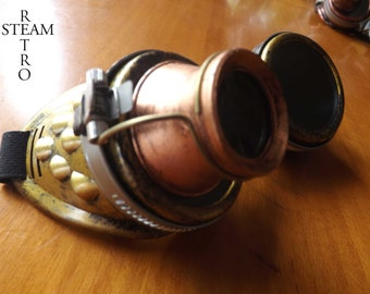 10% off sale17 bronze steampunk goggles with loupe mad scientist cyber goggles burning man steampunk accessories - Christmas steampunk gift