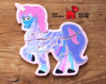 Unicorn Felt PDF Sewing Pattern Easy 5 piece Jigsaw Puzzle Felt Toy for kids Baby Sewing Patterns Soft Toy Patterns