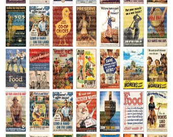 Vintage Farm Posters - 1x2 vintage art domino sized digital print out sheet for craft projects