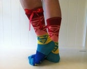 Superman style socks for girls