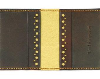 Dark Brown Leather Credit Card Wallet, Tan Pig Leather Interior, Tan Waxed Thread- Crocodile Grain Leather