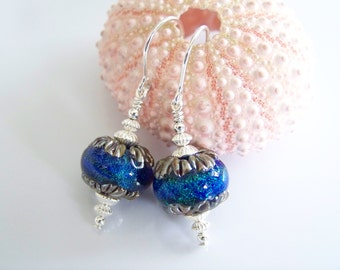 Blue with Green Shimmer Dichroic Artisan Lampwork Earrings - Item E1893