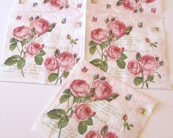 1 PKG 20 NAPKINS new German Victorian pink roses flowers French ephemera paper napkins party decoupage collage card making crafts
