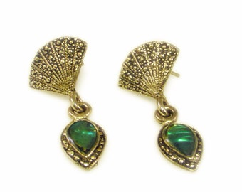 Stunning Antiqued Silver Tone and Iridescent Green Drop Pierced Earrings