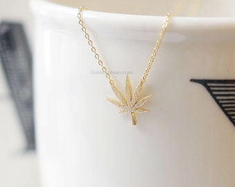 Gold marijuana leaf necklace, Gold cannabis leaf necklace, Gold Pot Necklace, wedding gifts, bridesmaid gifts, gift ideas, birthday gifts