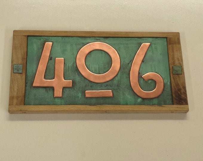 "Mission Mackintosh house numbers, Oak framed and Copper address plaque, 3 x nos 3""/75mm or 4""/100mm high  polished, patinated and laquered"