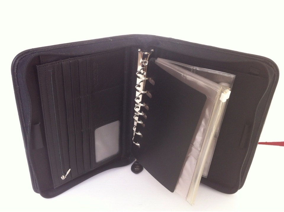 Leather Portfolio Size A5 Zippered Black 7 Ring Binder 1