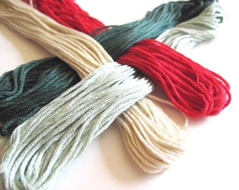 4 Skeins Set of Cross Stitch Floss - 100 % cotton Floss - holiday 2