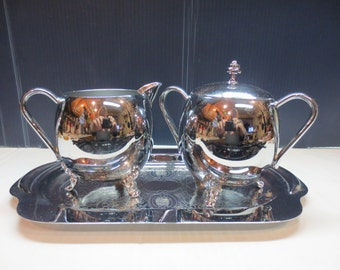 Lovely Vintage Silver plated Sugar and Creamer serving set with tray