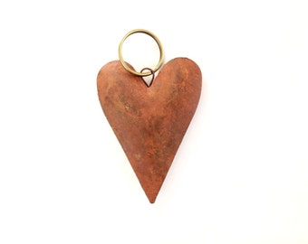 Rustic Heart Keychain keyring . rusty heart . puffy heart key chain key ring
