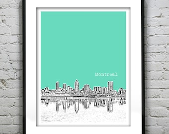Montreal Poster Art Skyline Print Quebec Canada Version 2