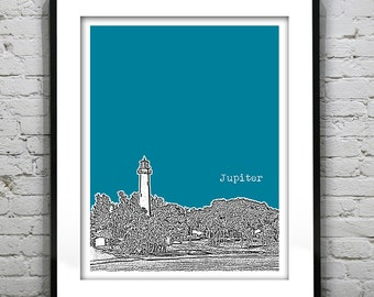 Jupiter Florida Skyline Poster Art Print Jupiter Lighthouse Florida FL Version 2