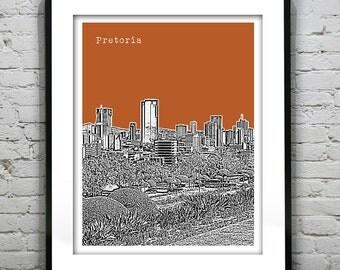 Pretoria Skyline Poster Art Print South Africa Version 1
