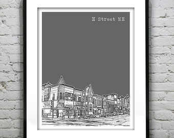 Washington DC - H Street NE Neighborhood - Skyline Poster Art Print