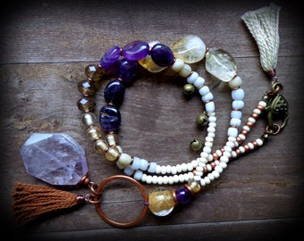 Karma necklace, raw amethyst necklace, raw citrine necklace, tribal fusion jewelry, long citrine necklace, gypsy yoga jewelry nomad jewelry