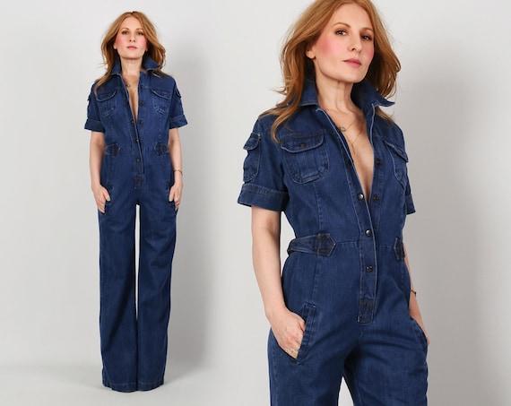 70s DENIM Bell Bottom Jumpsuit S M vintage jeans pants workman