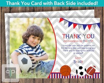 Sports Photo Thank You Card, Sports Theme, Soccer Thank You, Baseball Thank You, Basketball Thank You, Football Thank You, Printable