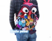 NEW Handmade Owl Backpack Bag Patchwork
