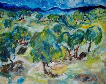 Original Art Print. Impressionist Tree landscape original oil painting by BrandanC