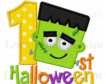 1st Halloween With Frankie Applique Machine Embroidery Design NO:0253