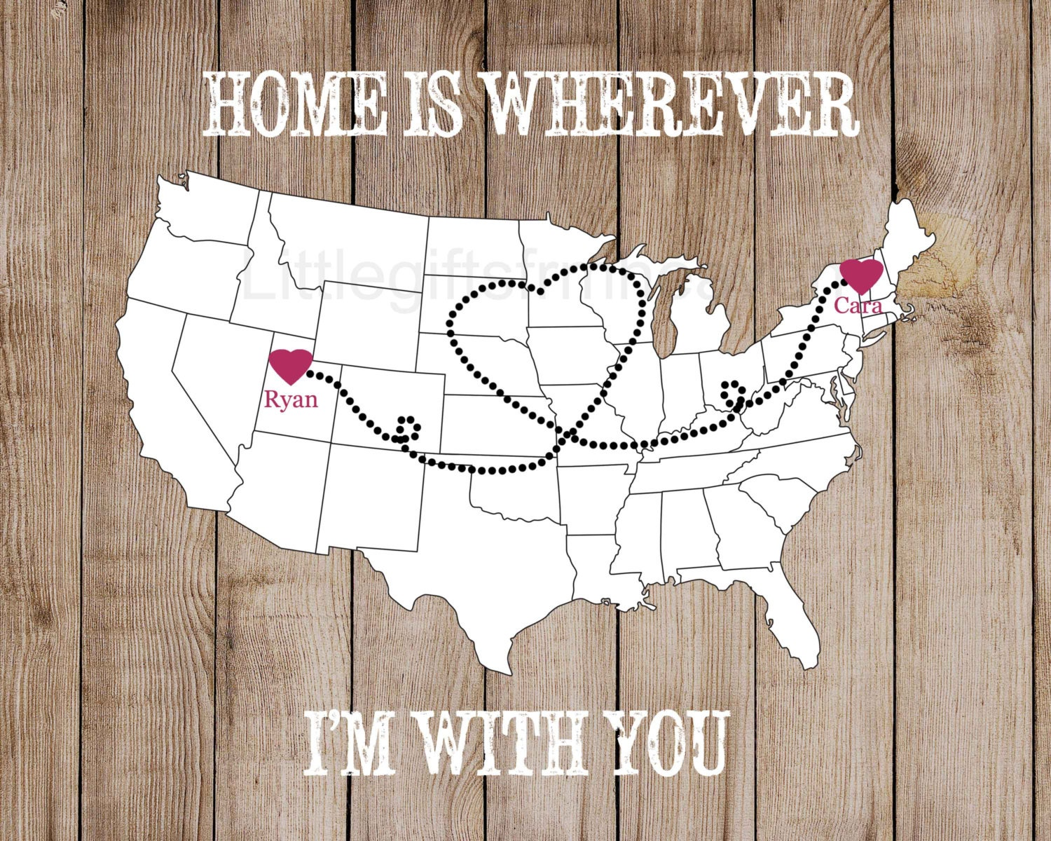 Home Is Wherever US Map Print Couples Gift Canvas Heart Map - Map ou us
