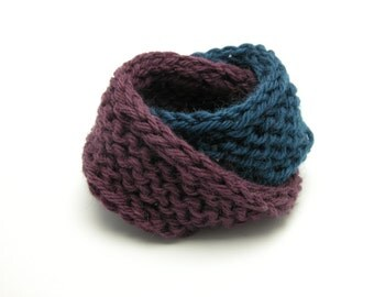 Double Mobius Bracelet in Eggplant & Gobel In Blue Wool