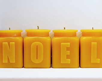NOEL Christmas Candle Set, Beeswax Candles,  Holiday Home Decor