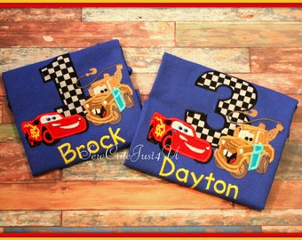 Cars Lightning McQueen and Mater Themed Birthday Personalized Number Shirt
