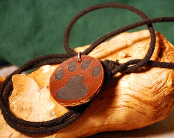 Cat Shelter Fundraiser Paw Print Leather Pendant
