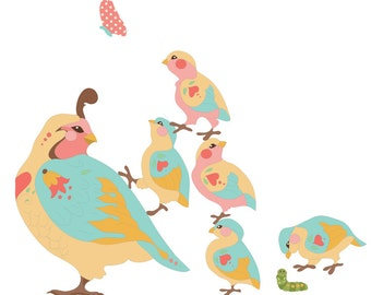Quail Wall Decals - Quail Fabric Wall Decals